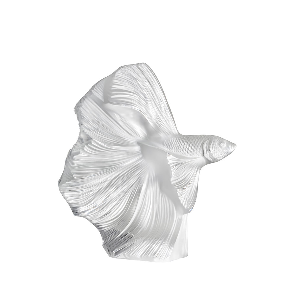 Fighting Fish sculpture   Large size, clear crystal   Sculpture Lalique