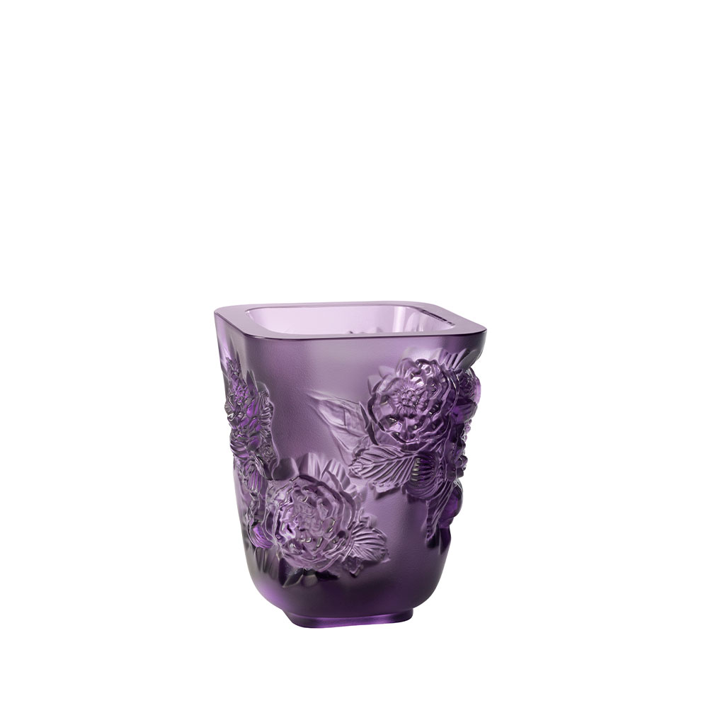 Pivoines Vase Small Size | Purple crystal | Lalique Vase