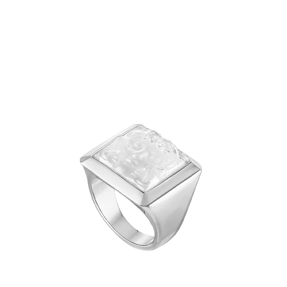 Arethuse signet ring   Clear crystal, silver   Costume jewellery Lalique