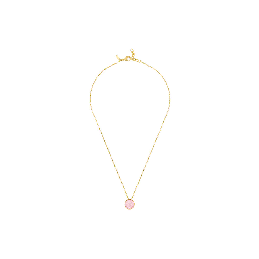 Pivoine Necklace | Pink pearly on clear crystal, 18 carats yellow gold plated | Costume jewellery Lalique