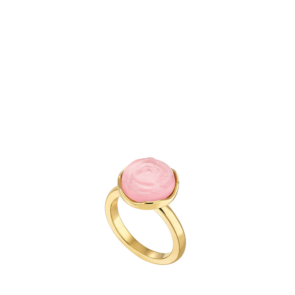 Pivoine Ring | Pink pearly on clear crystal, 18 carats yellow gold plated | Costume jewellery Lalique