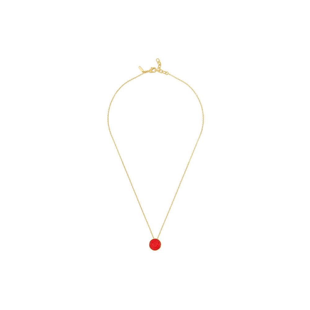 Pivoine Necklace | Red pearly on clear crystal, 18 carats yellow gold plated | Costume jewellery Lalique