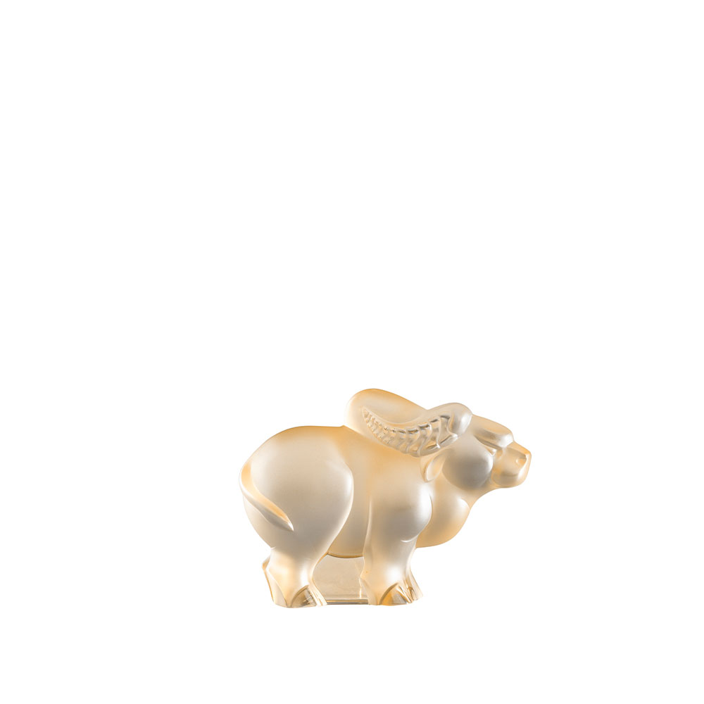 Ox small sculpture | Gold luster crystal | Lalique Sculpture