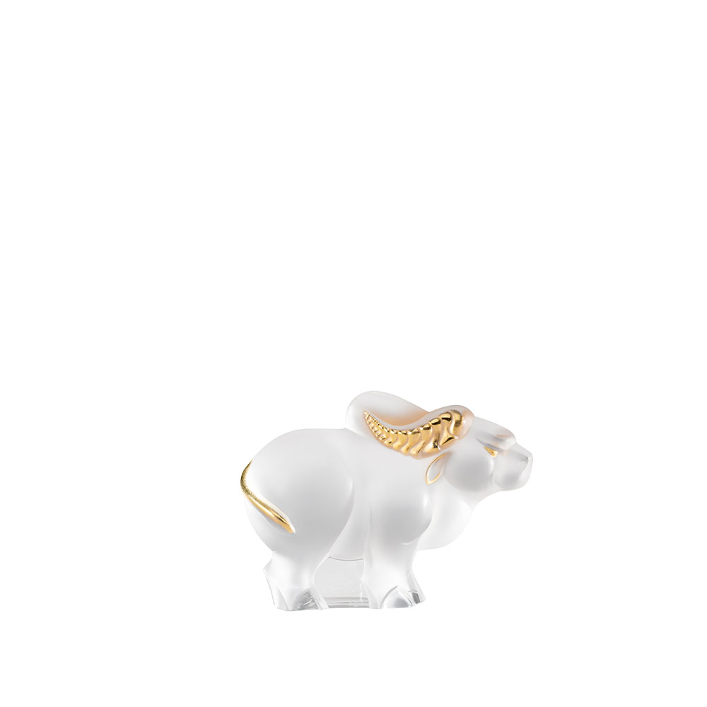 Ox small sculpture | Clear and gold stamped crystal | Sculpture Lalique
