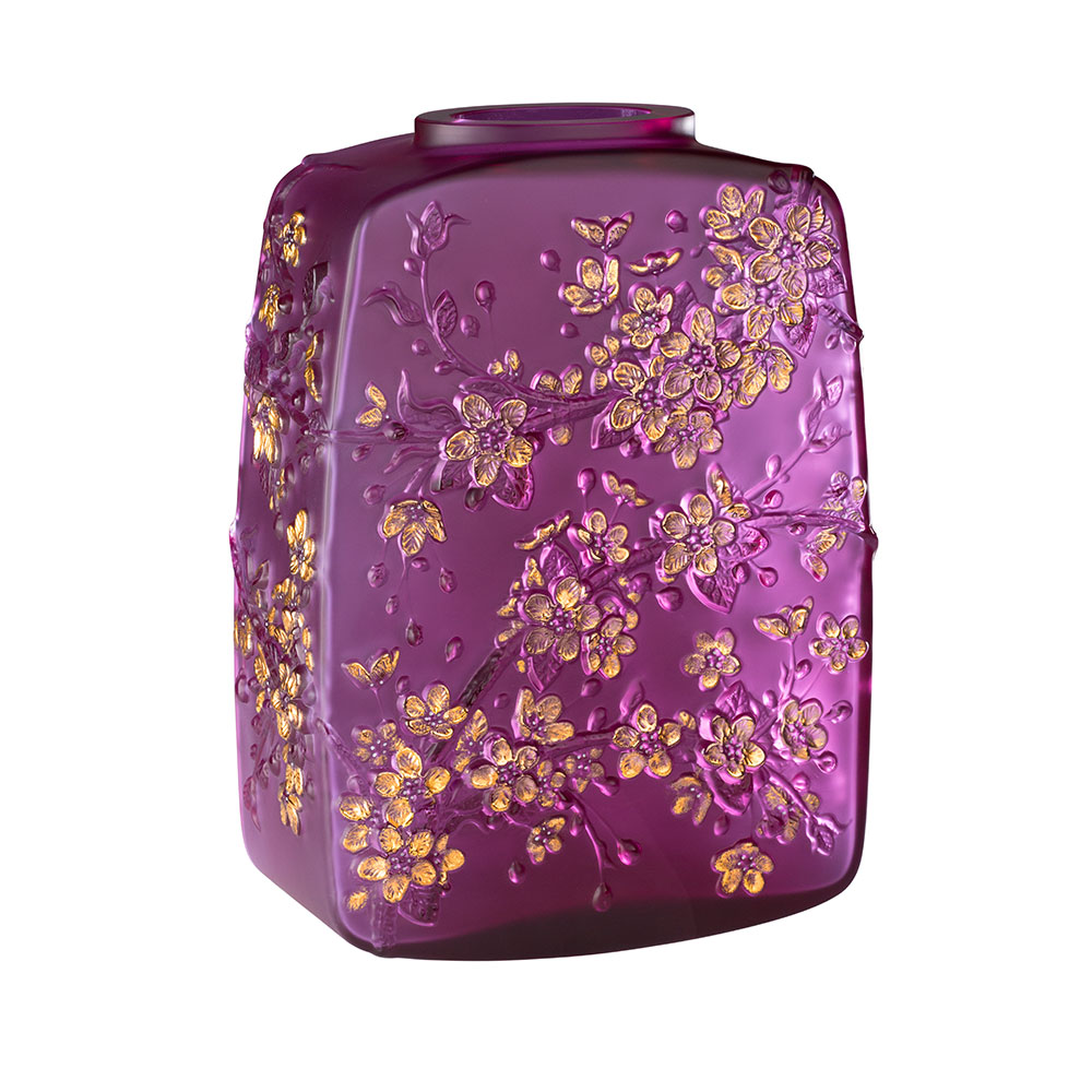 Fleurs de Cerisier Vase | Limited edition (88 pieces), fuchsia crystal gold stamped, white enamelled | Lalique Vase