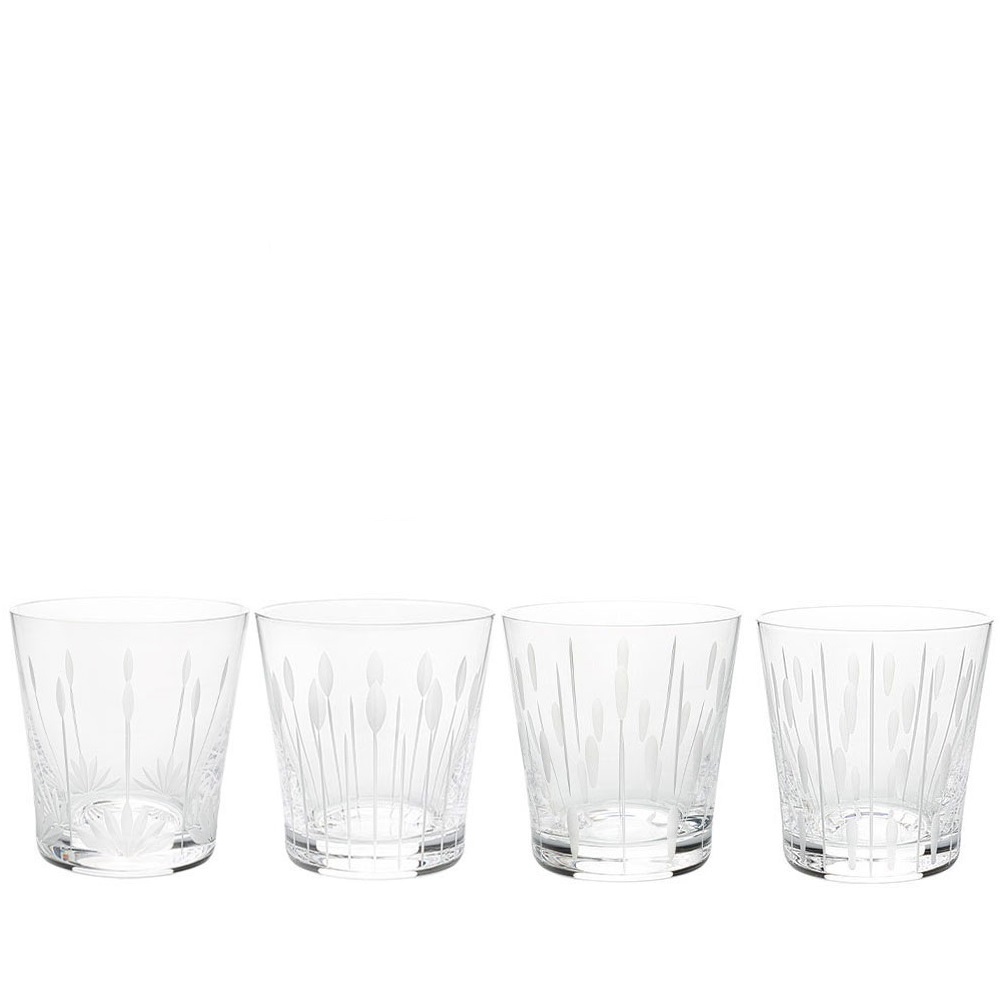 Lotus, 4 tumblers set | Clear crystal | Glass Lalique