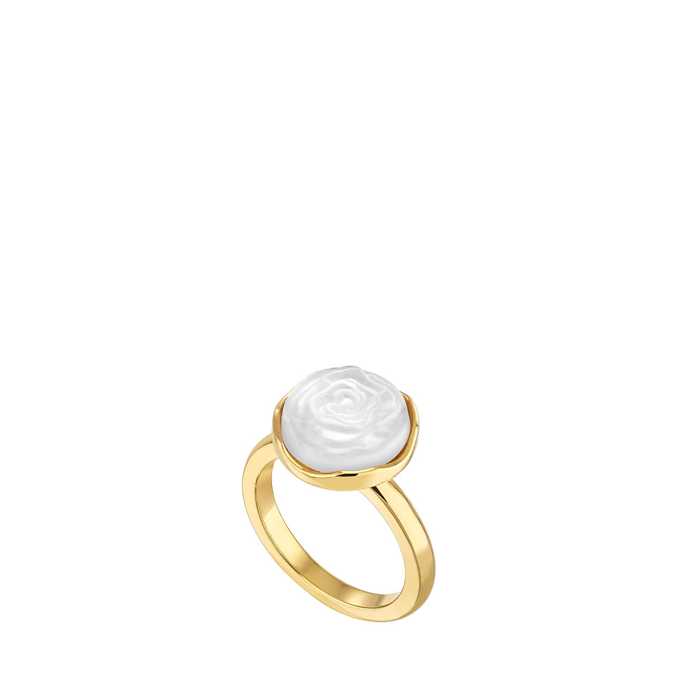 Pivoine Ring | White pearly on clear crystal, 18 carats yellow gold plated | Costume jewellery Lalique
