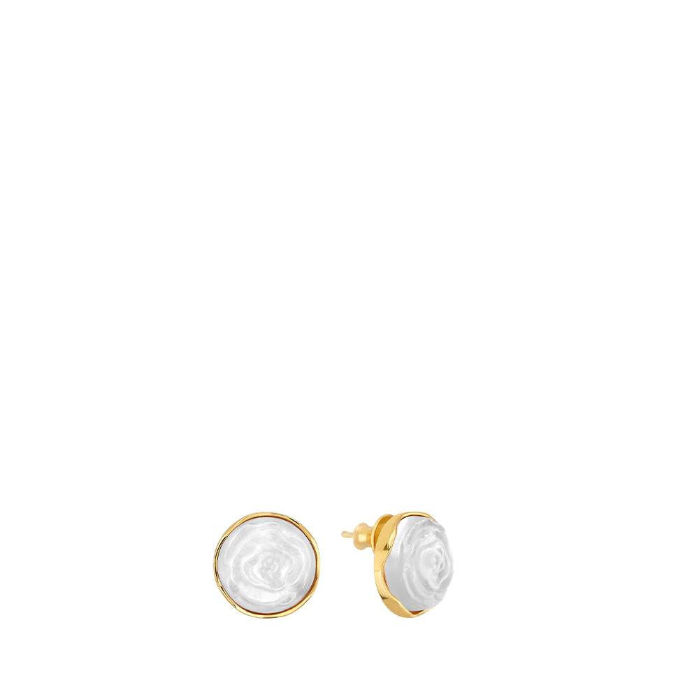 Pivoine Earrings | White pearly on clear crystal, 18 carats yellow gold plated | Costume jewellery Lalique