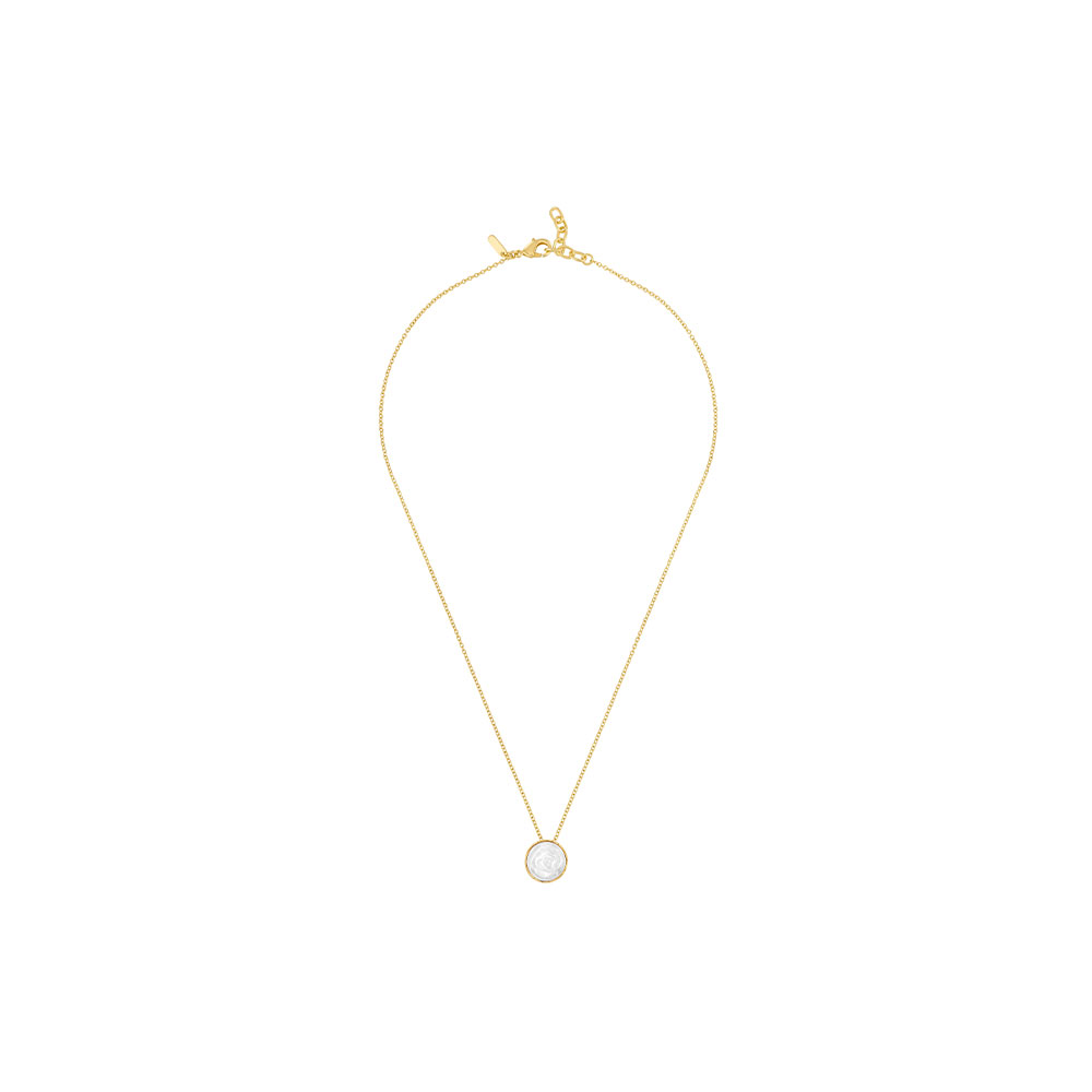 Pivoine Necklace   White pearly on clear crystal, 18 carats yellow gold plated   Costume jewellery Lalique