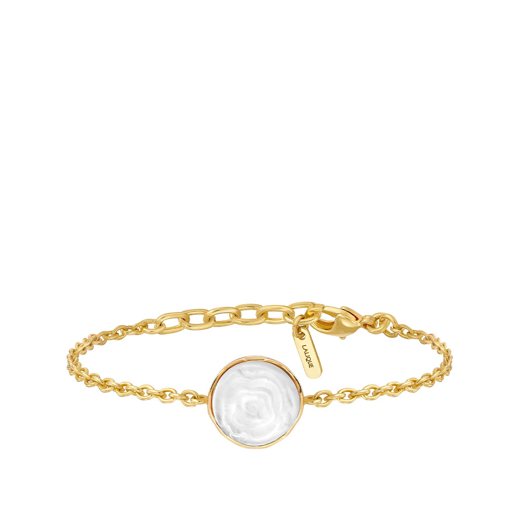 Pivoine Bracelet   White pearly on clear crystal, 18 carats yellow gold plated   Costume jewellery Lalique