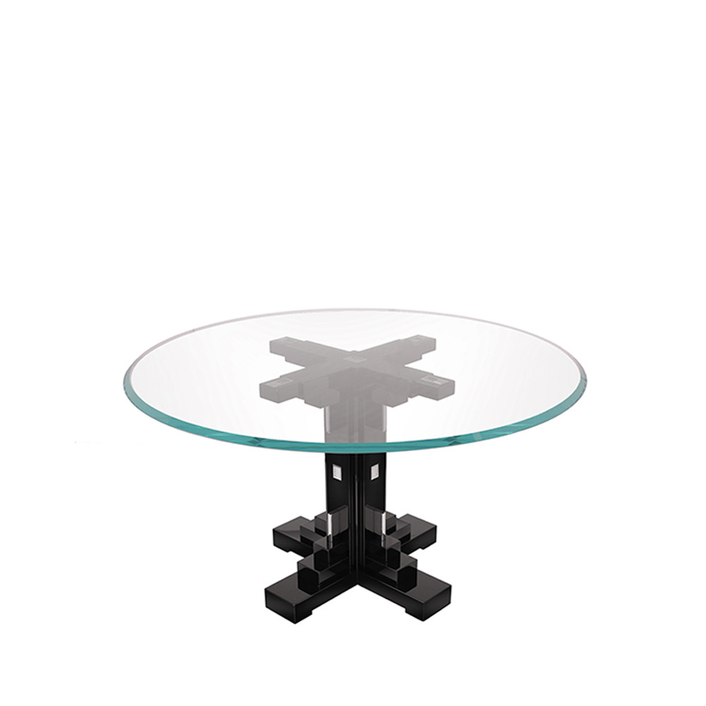 Raisins table   Numbered edition, clear crystal and black lacquered   Table Lalique