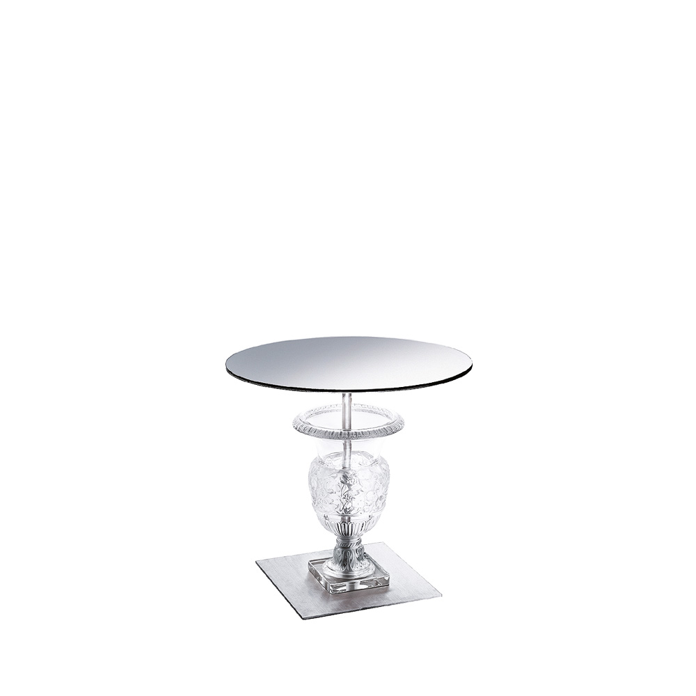 Versailles pedestal table   Clear crystal, brushed stainless steel   Interior Design Lalique