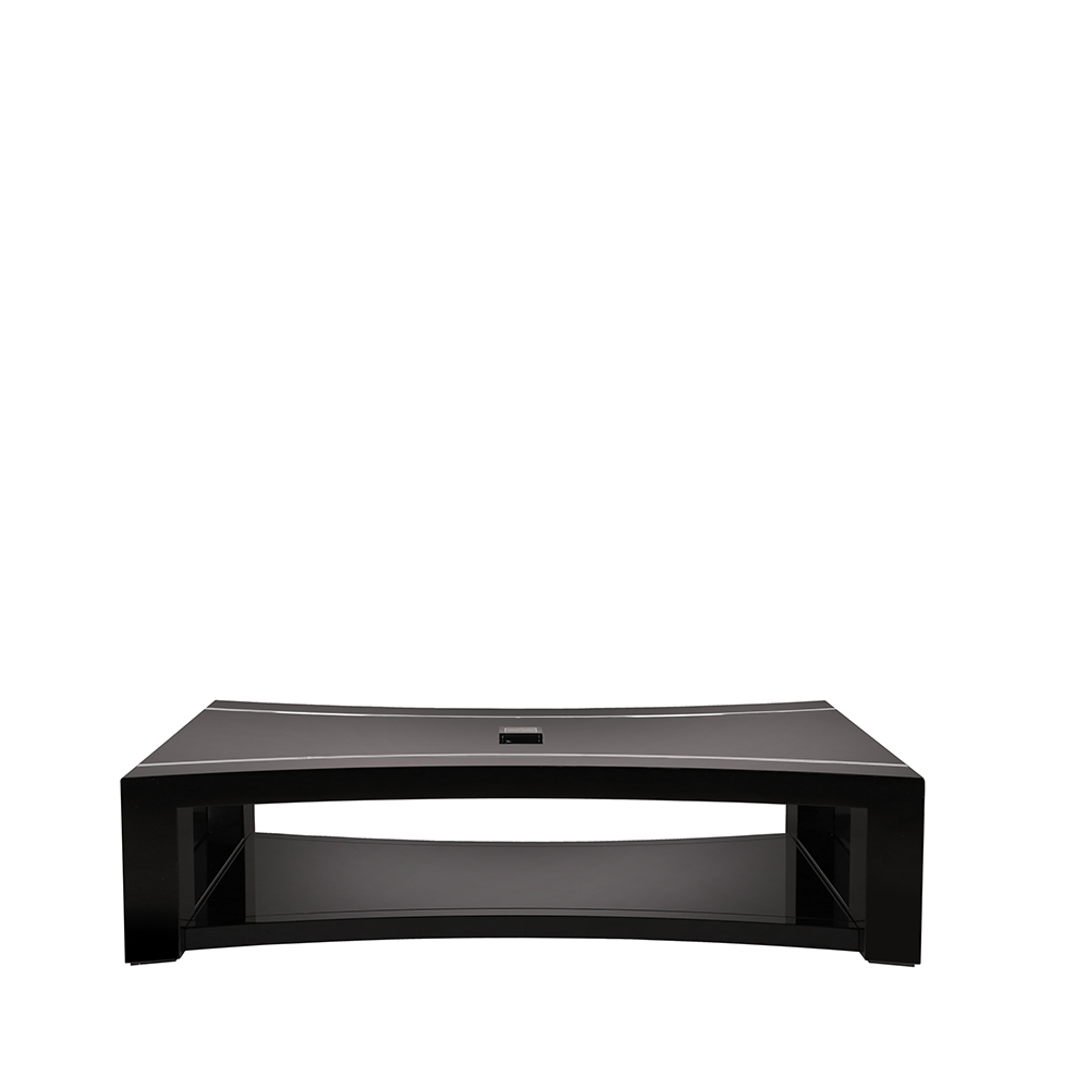 Raisins curved coffee table | Numbered edition, clear crystal, black lacquered, black glass top | Coffee table Lalique