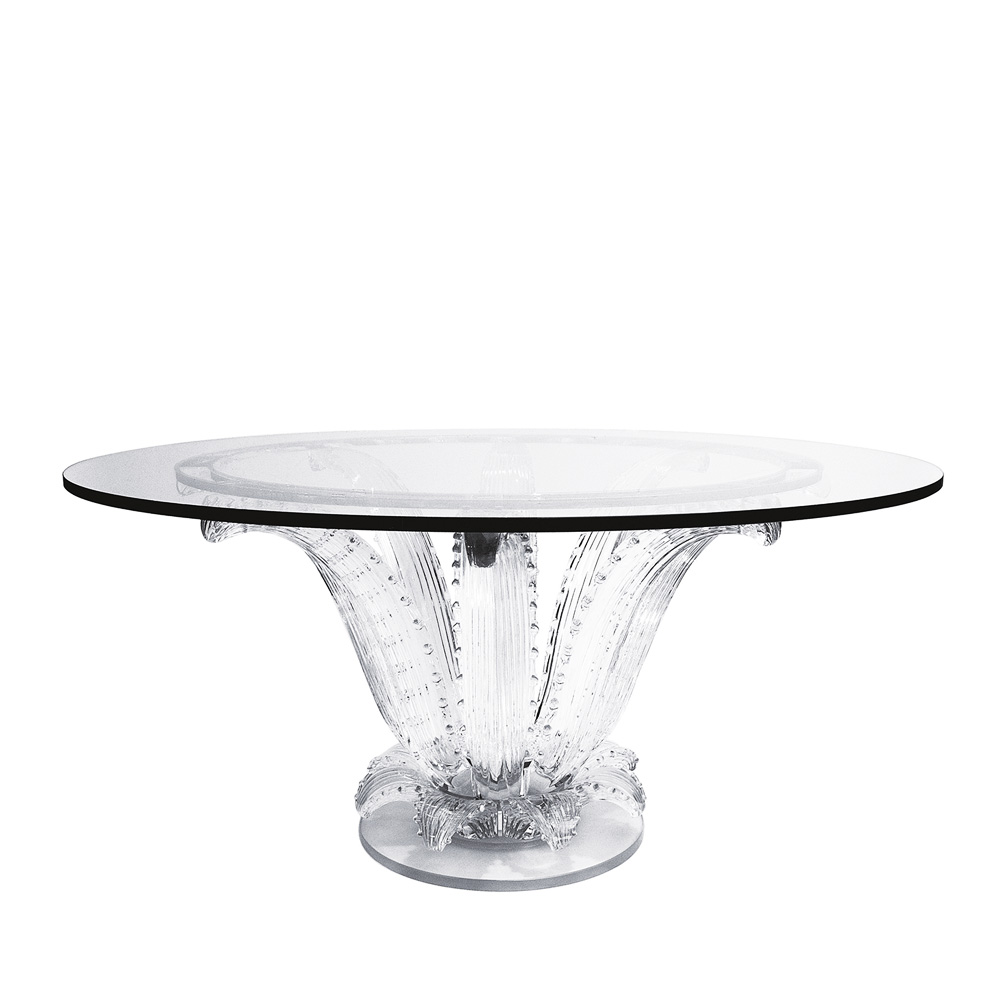 Cactus table | Round table, clear crystal | Interior Design Lalique