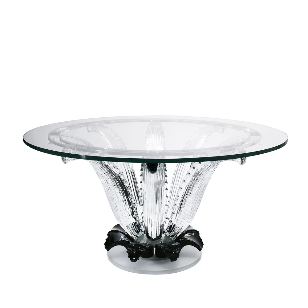 Cactus table | Round table, clear and black crystal | Interior Design Lalique