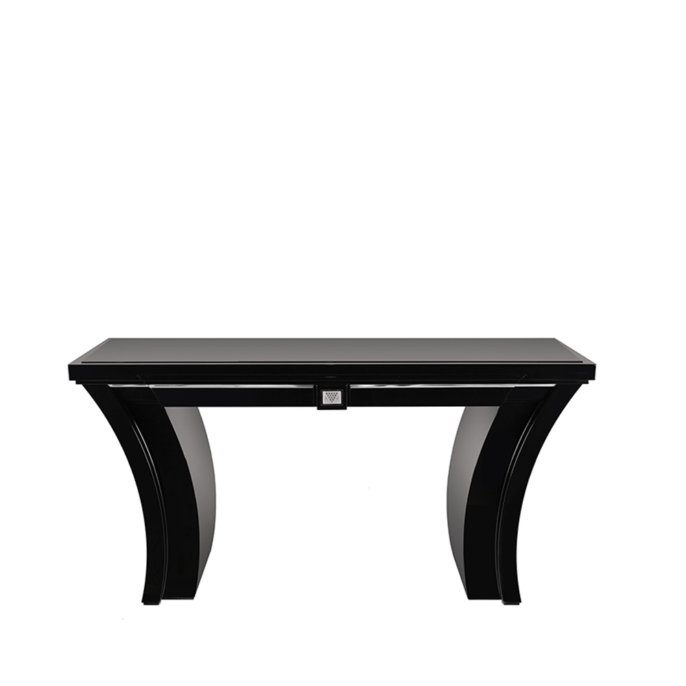 Raisins curved console table | Numbered edition, clear crystal and black lacquered| Table Lalique