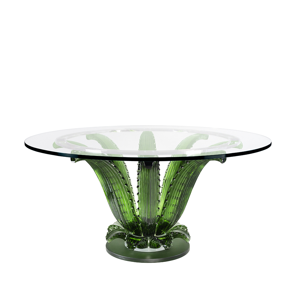 Cactus table   Round table, green crystal   Interior Design Lalique