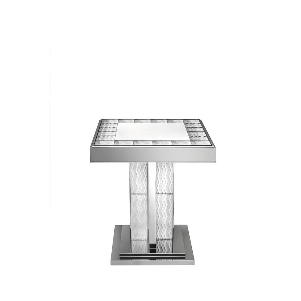 Soudan Pedestal Table   Clear crystal and bright nickel   Pierre-Yves Rochon
