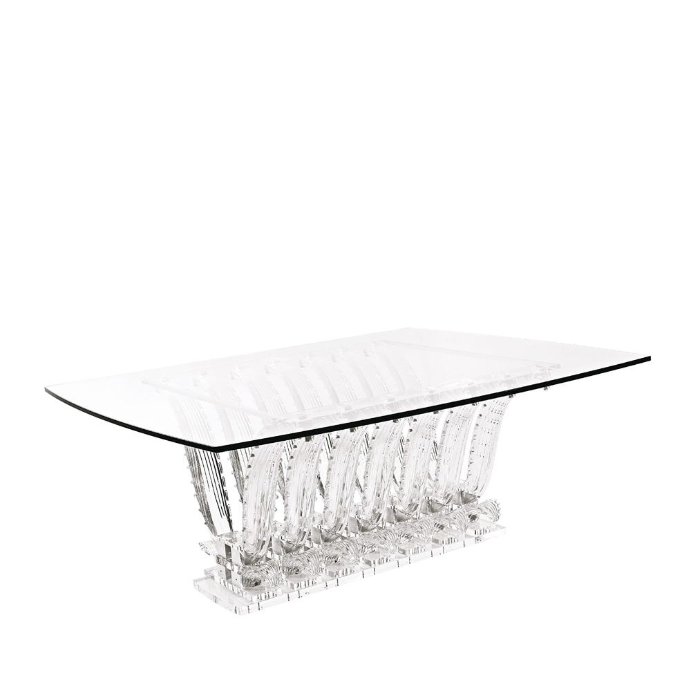 Cactus table | Rectangular table, clear crystal | Interior Design Lalique