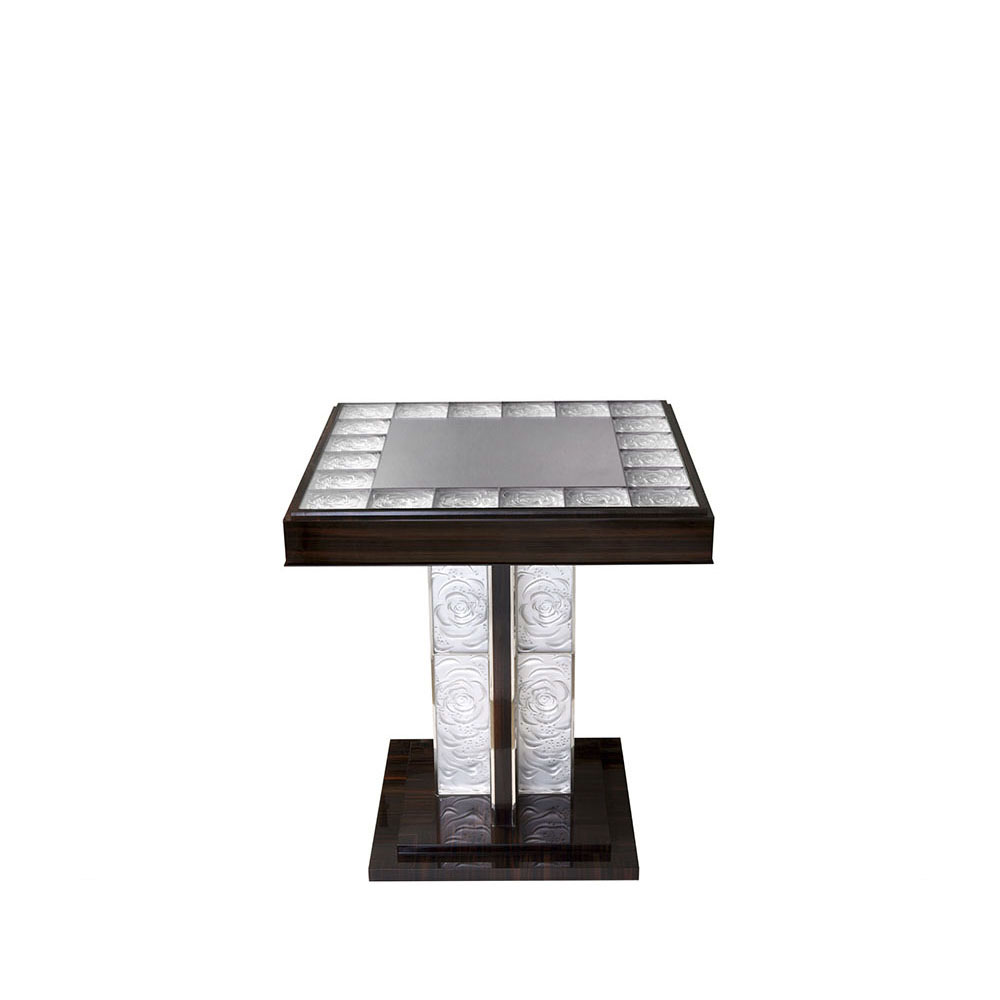 Roses Pedestal Table | Clear crystal and macassar | Pierre-Yves Rochon