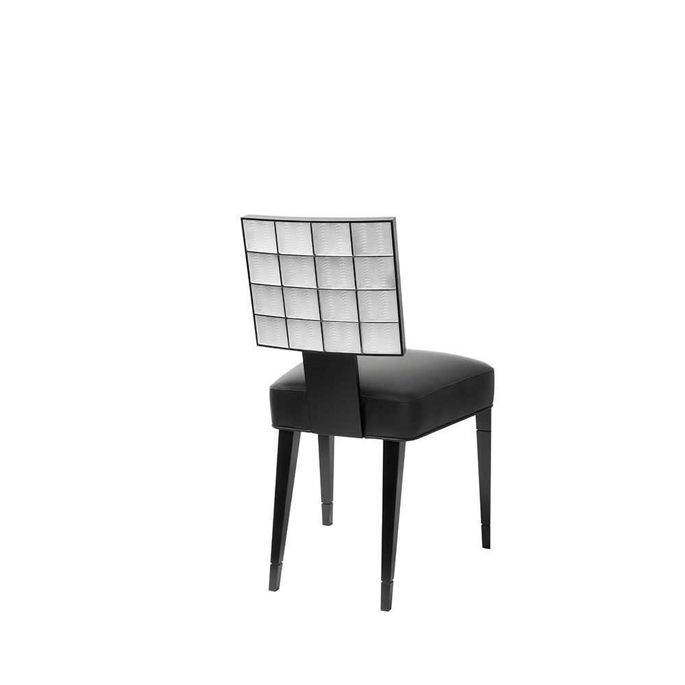 Coutard chair   Back of the chair adorned with crystal, leather, black lacquered beech   Pierre-Yves Rochon