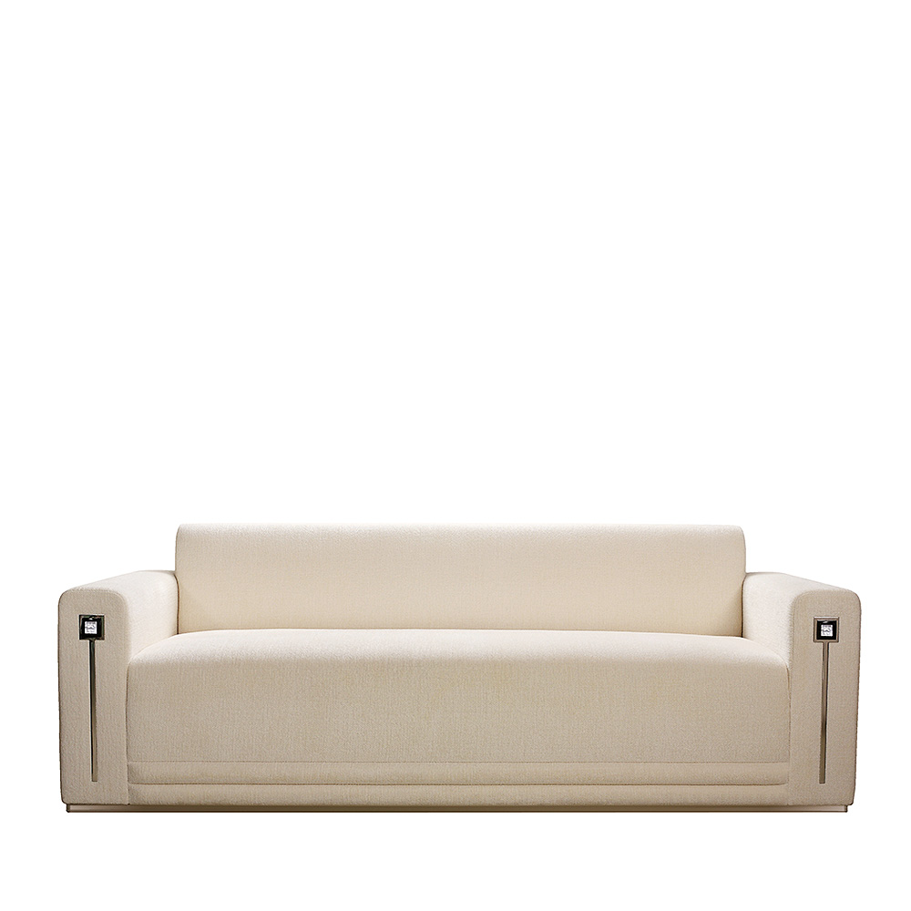 Masque de Femme contemporary sofa | Numbered edition, clear crystal and ivory silk | Sofa Lalique