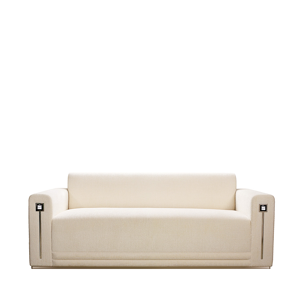 Masque de Femme contemporary sofa   Numbered edition, clear crystal and ivory silk   Sofa Lalique