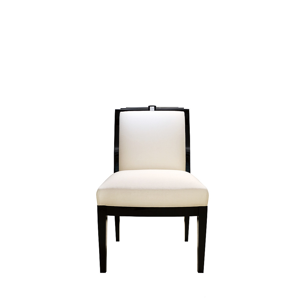 Masque de Femme classic chair | Numbered edition, clear crystal, black lacquered and ivory silk | Chair Lalique