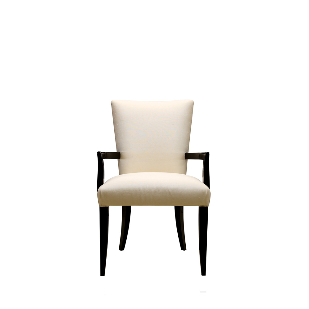 Masque de Femme contemporary chair | Numbered edition, clear crystal, black lacquered and ivory silk | Chair Lalique