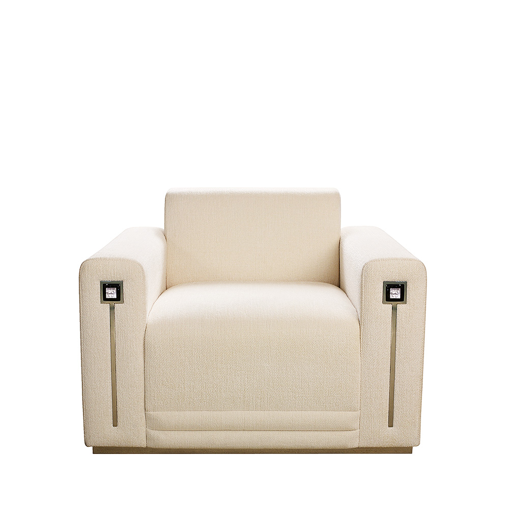 Masque de Femme contemporary armchair | Numbered edition, clear crystal and ivory silk | Armchair Lalique