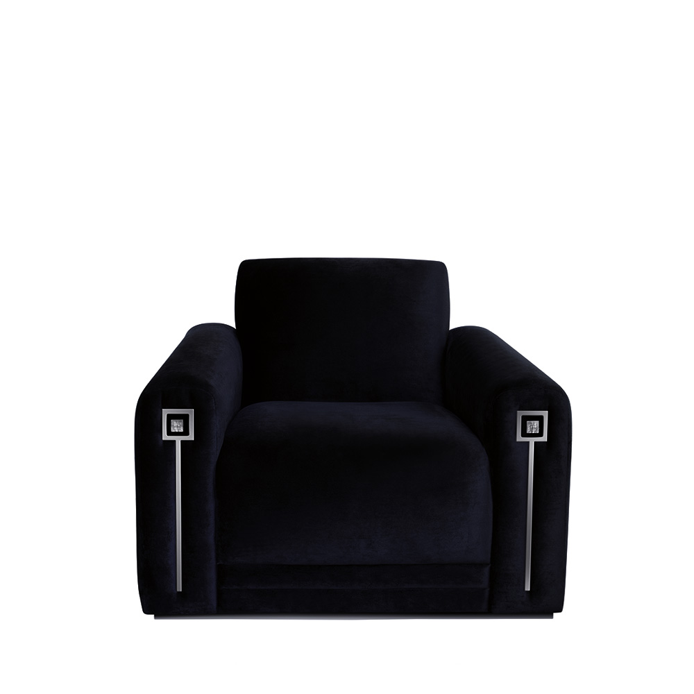 Masque de Femme contemporary armchair | Numbered edition, clear crystal and black silk | Armchair Lalique