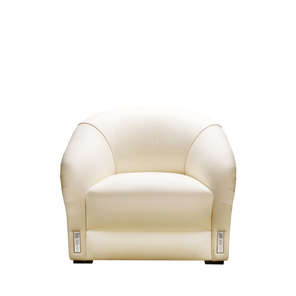 Raisins classic club armchair | Numbered edition, clear crystal and ivory silk | Armchair Lalique