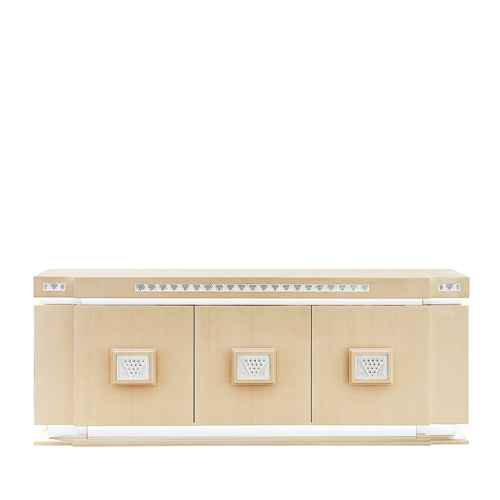 Raisins sideboard | Numbered edition, clear crystal, ivory ash and polished steel | Sideboard Lalique