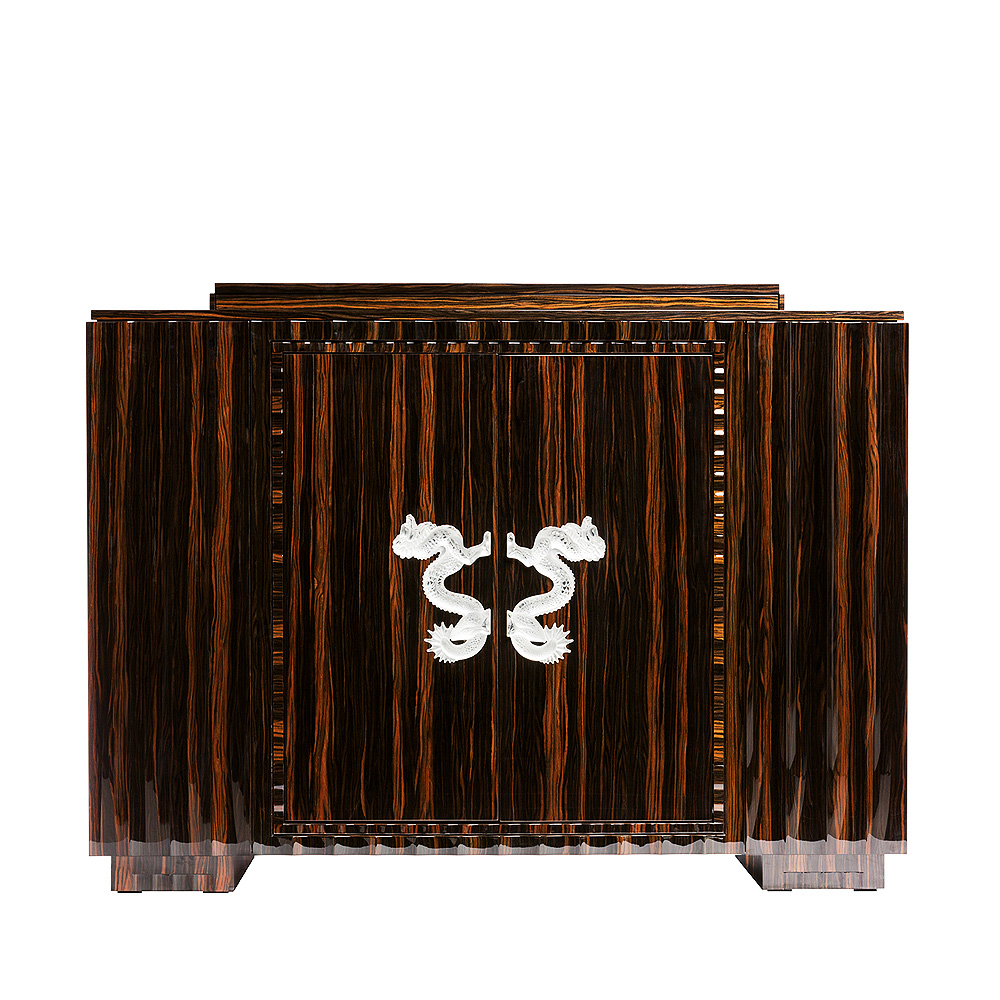 Dragon bar | Numbered edition, clear crystal and natural ebony, large size | Bar Lalique