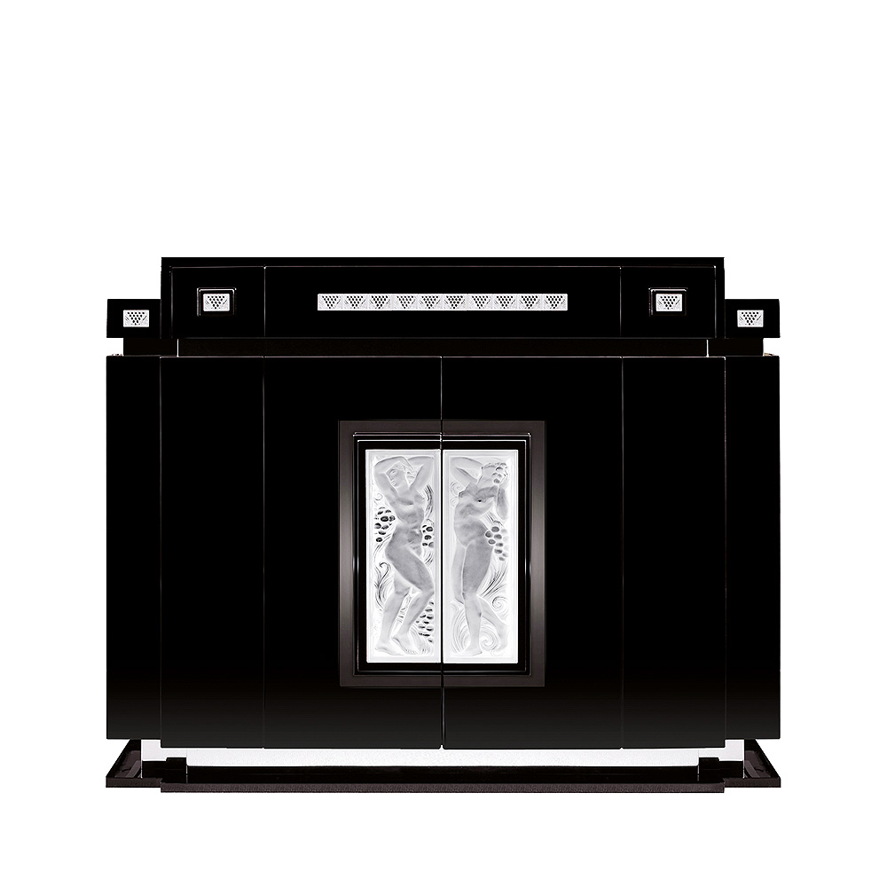 Femme Bras Levés bar with side drawers | Numbered edition, clear crystal and black ebony | Bar Lalique