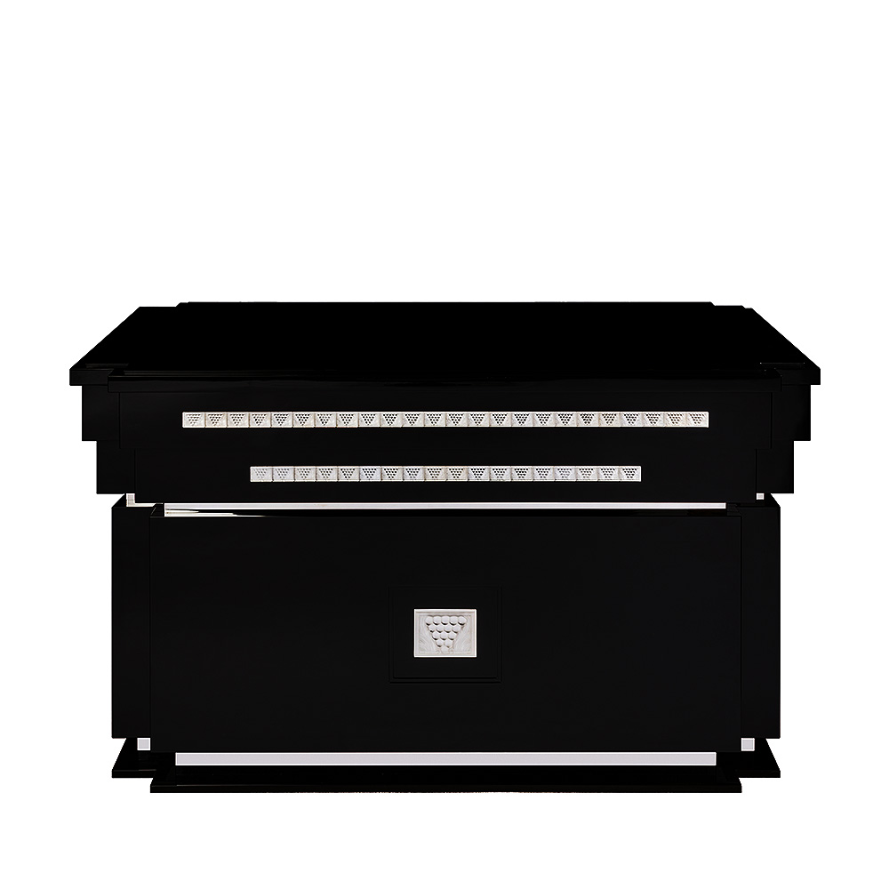 Raisins bar counter | Numbered edition, clear crystal and black lacquered | Bar Lalique