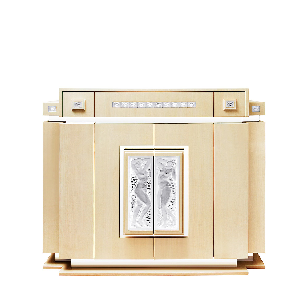 Femme Bras Levés bar with side drawers | Numbered edition, clear crystal and ivory ash | Bar Lalique