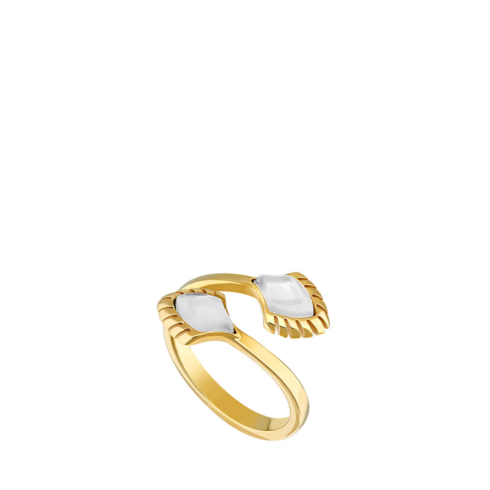 Paon ring   White pearly clear crystal, 18K yellow gold-plated   Costume jewellery Lalique
