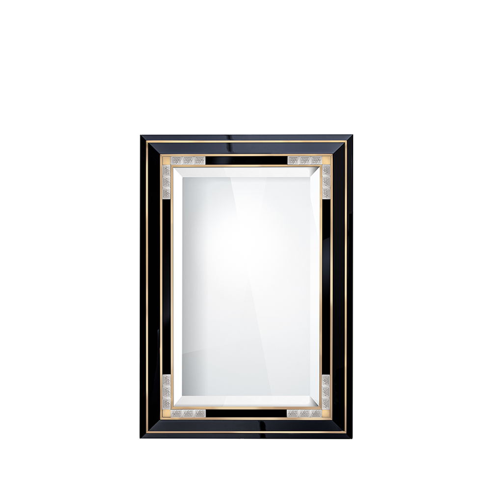 Raisins mirror with gold satin steel| Numbered edition, clear crystal and black lacquered | Mirror Lalique