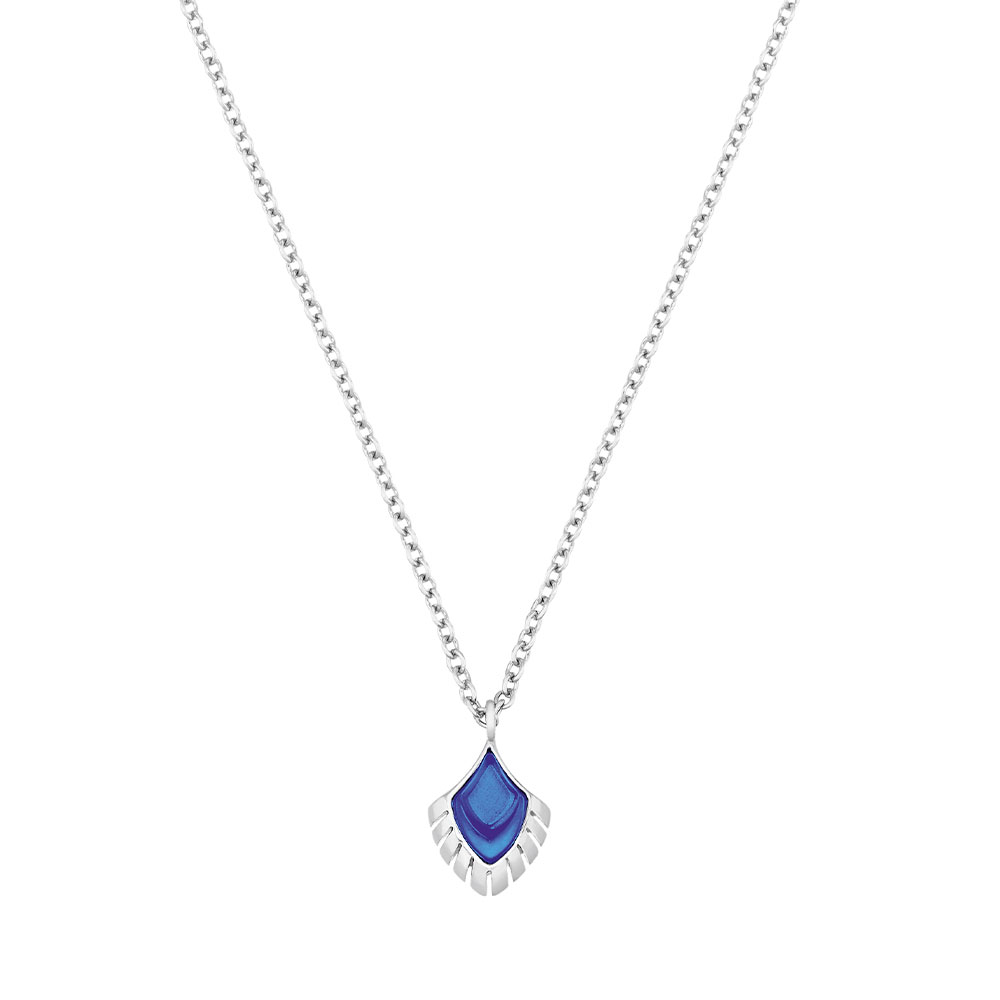 Paon Pendant   Blue crystal and green lacquer, Silver   Lalique pendants