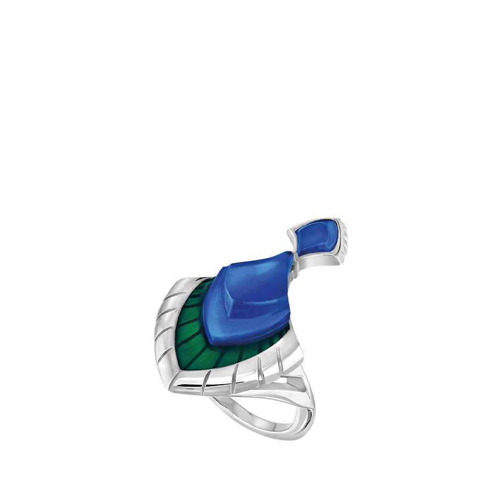 Paon Ring | Blue crystal and green lacquer, Silver | Lalique rings