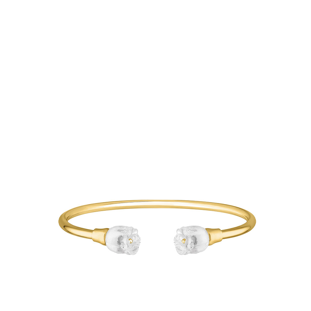 Muguet flexible bangle | Clear crystal, 18K yellow gold-plated | Costume jewellery Lalique