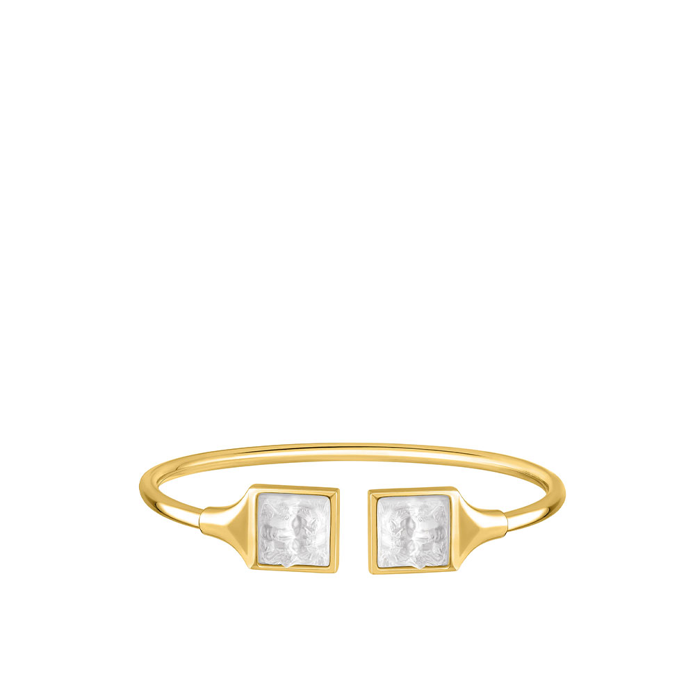 Arethuse flexible bangle | Clear crystal, 18K yellow gold-plated | Costume jewellery Lalique