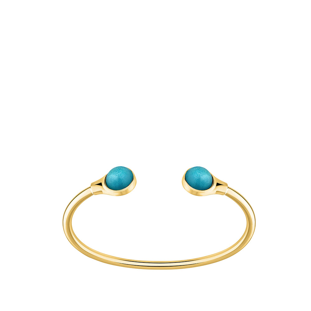 Cabochon flexible bangle | Blue opalescent crystal, 18K yellow gold-plated | Costume jewellery Lalique