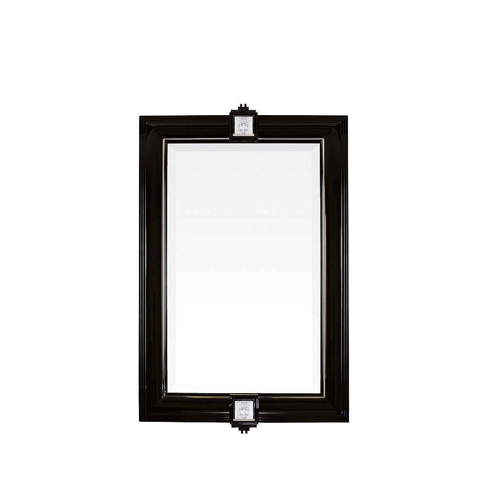 Masque de Femme mirror | Numbered edition, clear crystal and black lacquered | Mirror Lalique
