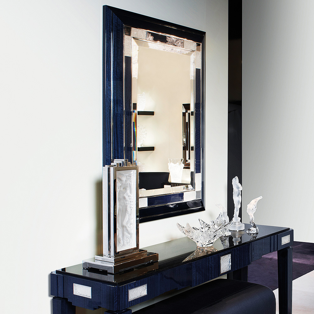 Roses mirror | Numbered edition, clear crystal and blue eucalyptus | Mirror Lalique