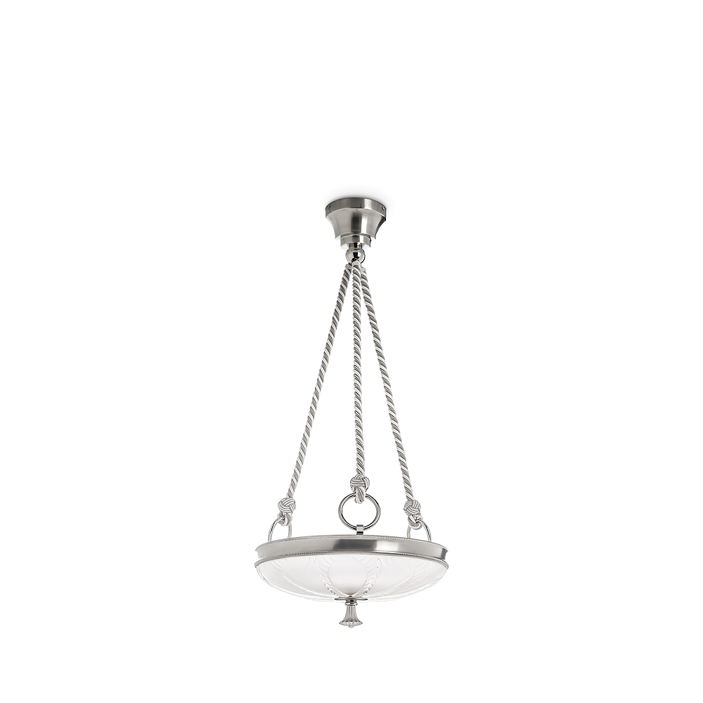 Ginkgo ceiling lamp | Clear crystal, shiny and brushed nickel finish, small size | Lalique & Delisle