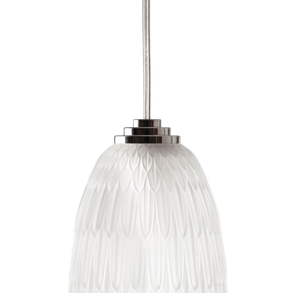 Plumes ceiling lamp | Clear crystal, chrome finish | Lalique