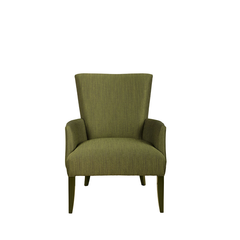 Raisins Villa René Lalique contemporary armchair   Numbered edition, gold luster crystal, green lacquered and green fabric   Armchair Lalique