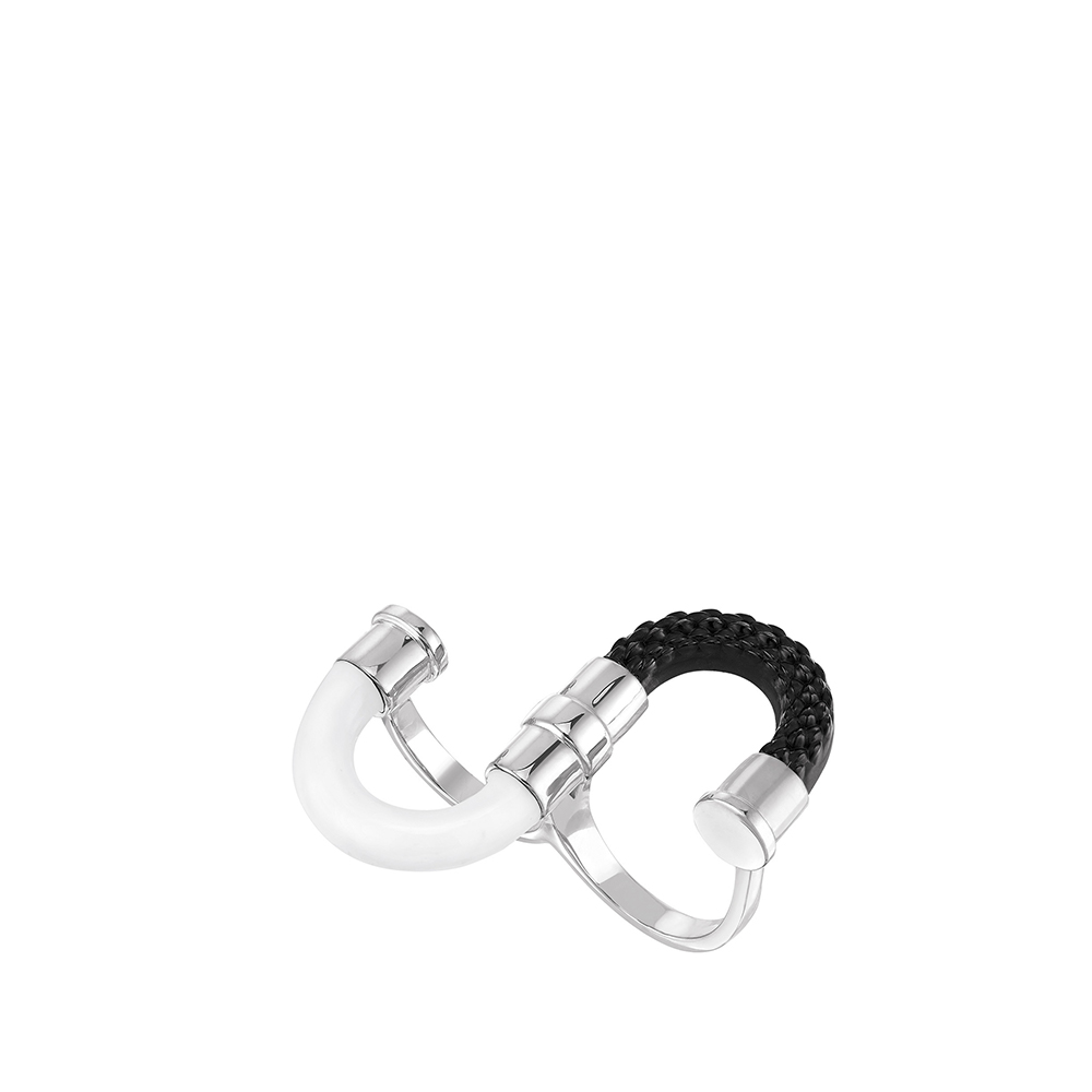 1927 Double ring | BLACK CRYSTAL, SILVER PLATED | Lalique exclusive collection
